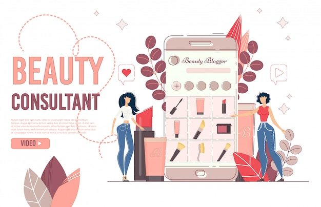 Beauty online blogging consultation landing page