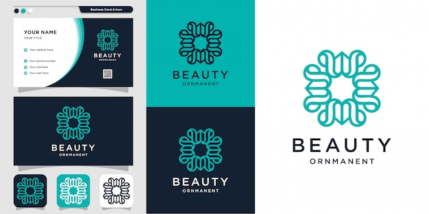 Beauty ornament with logo style and business card design, luxury, abstract, beauty, icon