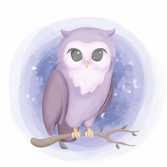 Beauty owl portrait nursery style illustration