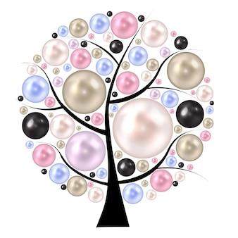 Жемчужина красоты на дереве. фон векторные иллюстрации.