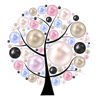 Beauty pearl  on tree. background vector illustration.