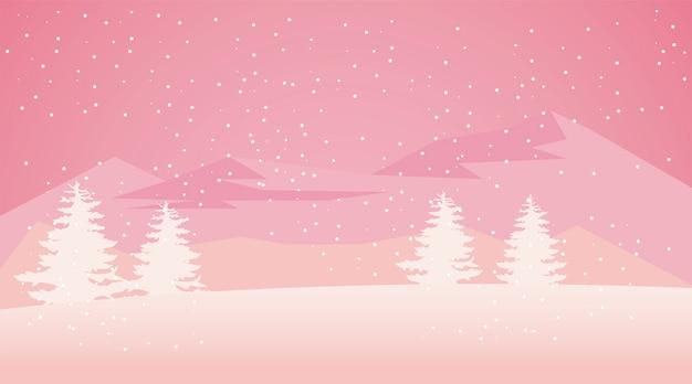 美しさピンクの冬の風景シーンイラスト