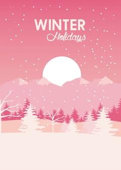 Красота розового зимнего пейзажа с соснами и солнцем