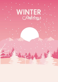 Beauty pink winter landscape scene with pines trees and sun  illustration