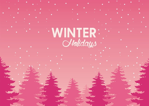 Красивый розовый зимний пейзаж с иллюстрацией лесной сцены