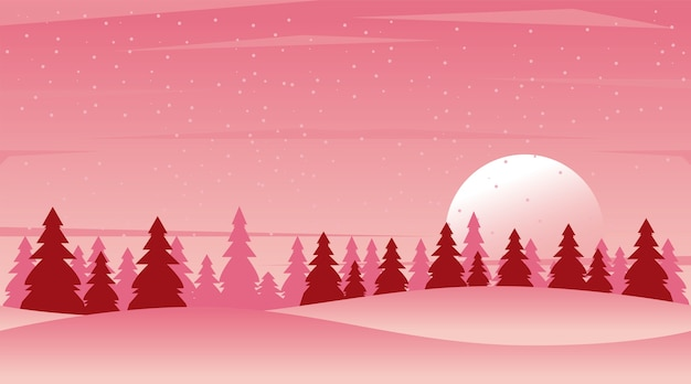 Beauty pink winter landscape with forest scene  illustration