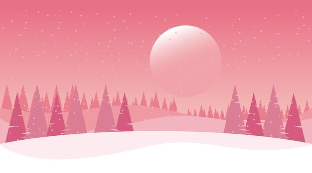 Beauty pink winter landscape with sun and pines trees  illustration