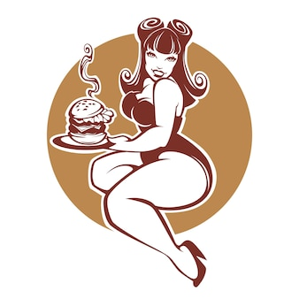 Beauty plus size pinup girl with gigantic tasty burger