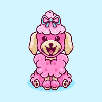 Beauty poodle dog for character icon logo sticker and illustration