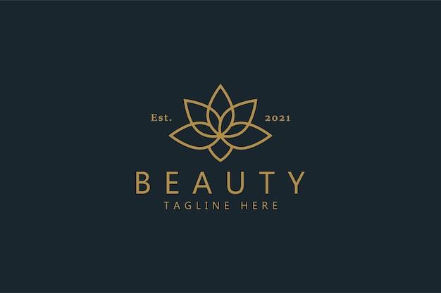 美容プレミアムベクトル蓮の花のロゴ。エレガントなゴールドカラーシンボル。最高のトレンドブランドアイデンティティ。