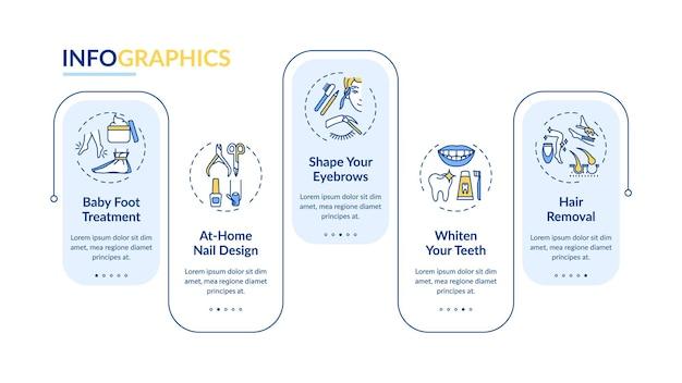 美容手順インフォグラフィックテンプレート。ベビーフットトリートメント、ネイルデザインプレゼンテーションデザイン要素。 5つのステップによるデータの視覚化。タイムラインチャートを処理します。線形アイコンのワークフローレイアウト