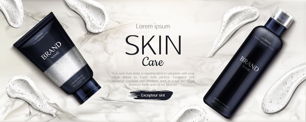Beauty product line with cream smear brush strokes on marble
