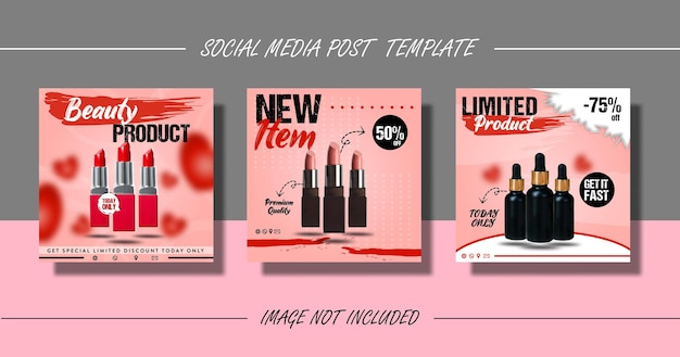 Beauty product social media post or flyer template set
