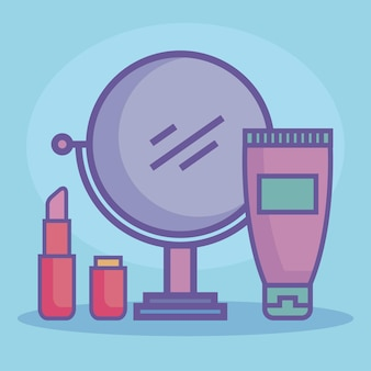 Beauty products three icons Premium Vector