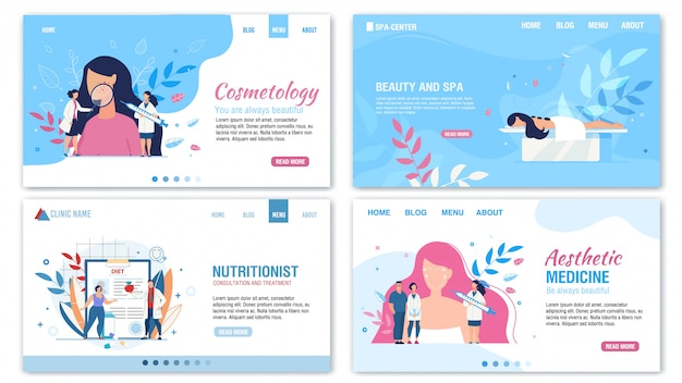 Beauty proper nutrition services landing page set