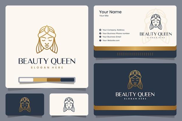 뷰티 퀸, 소녀, 골드 컬러, 라인 스타일, 로고 디자인 및 명함