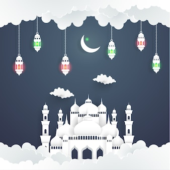 The beauty of ramadan kareem with the illustration of the mosque and the moon. paper art s