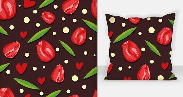 Красота красные тюльпаны бесшовные векторные иллюстрации. белый фон.