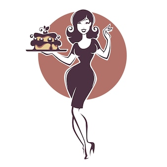 Beauty retro pinup girl holding a delicious tasty cake