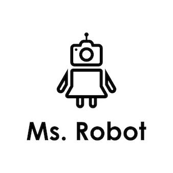 Beauty robot with camera outline simple sleek modern logo design vector template