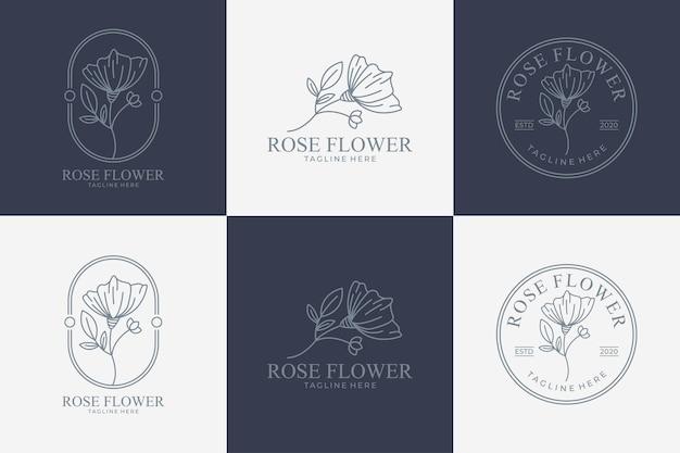 Красота роза цветок линии искусства логотип набор набор