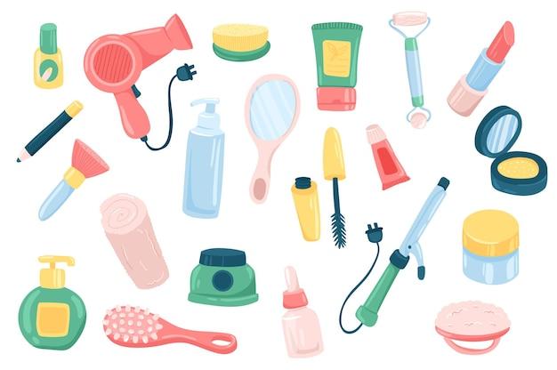Beauty routine accessory cute elements set
