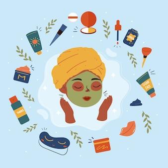 美容ルーチン。美しい若い女性と様々な化粧品。顔と体のケアのコンセプトです。クレンジング、保湿、トリートメント。手描きセット。 Premiumベクター