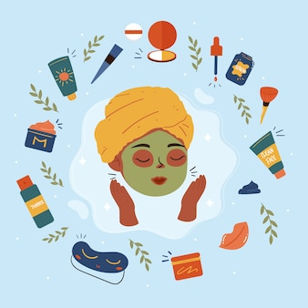 Beauty routine. beautiful young ladies and various cosmetics. face and body care concept. cleansing, moisturizing, treating. hand drawn  set.