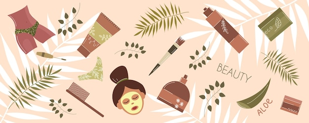 Beauty routine. face and body care. cosmetic items.. eco cosmetics in flat hand drawn style. all elements are isolated.