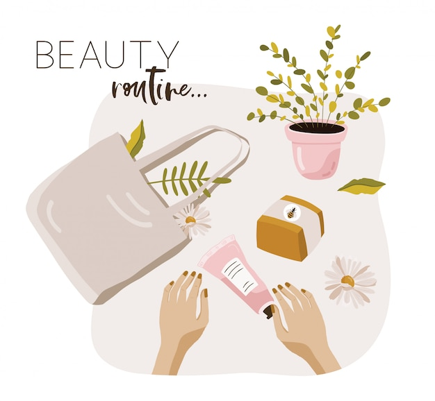 Beauty routine poster with cosmetic.
