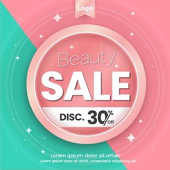 Шаблон для социальных сетей beauty sale pink and tosca