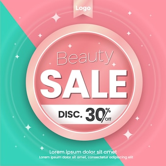 Beauty sale social media template pink and tosca