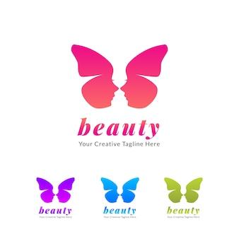 美容院と化粧ロゴ、蝶アイコン付き
