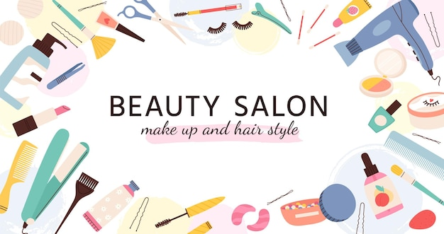 Beauty salon banner. poster for hairdresser, makeup artist and nail salons with cosmetics and skin care products, fashion vector template. beauty salon banner, makeup and hairdryer illustration