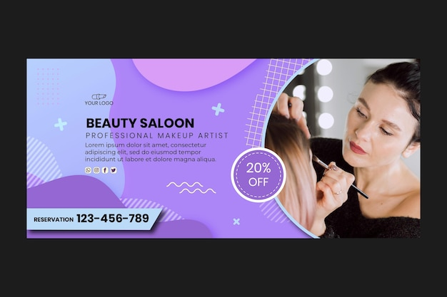 Beauty salon banner web template