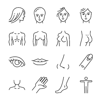 Beauty salon body parts line icon set.