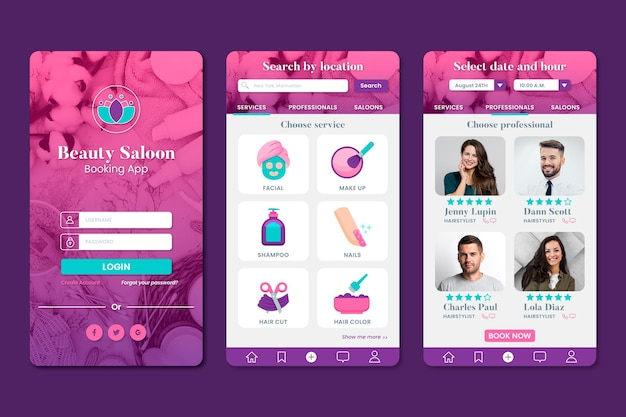 Beauty salon booking app with photo