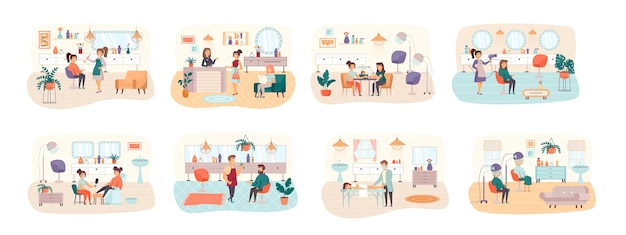 Beauty salon bundle of scenes with flat people characters situation