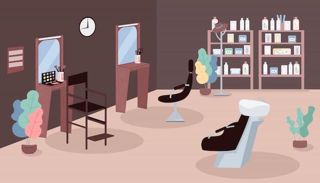 Салон красоты цветные рисунки. парикмахер-стилист на рабочем месте. комната визажиста. стол для парикмахерских. косметологический салон мультяшный интерьер с зеркалами и креслами на заднем плане