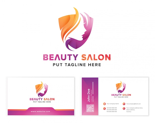 Beauty salon colorful feminine logo