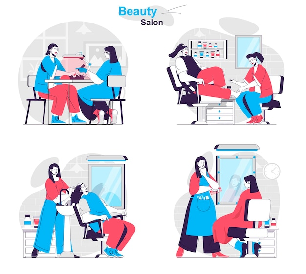 Beauty salon concept set cosmetology procedures haircuts manicure and pedicure
