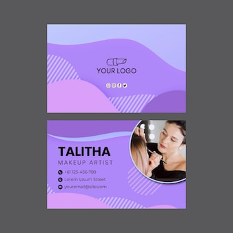Beauty salon double-sided horizontal business card