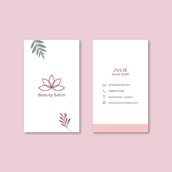 Beauty salon double-sided vertical business card