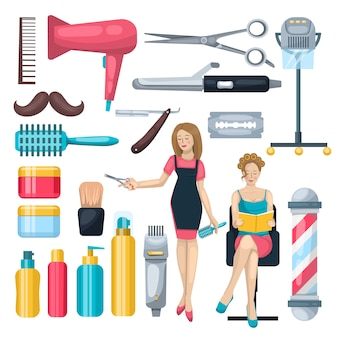 Beauty salon elements set
