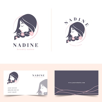 Beauty salon feminine logo with stationery business card
