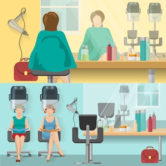 Beauty salon flat compositions