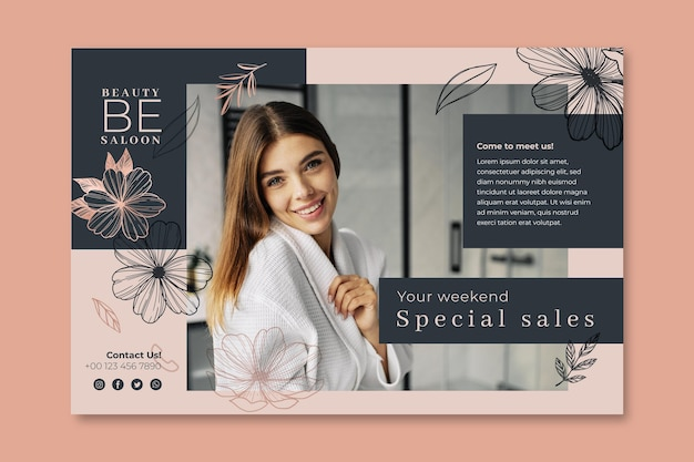 Beauty salon floral banner  template