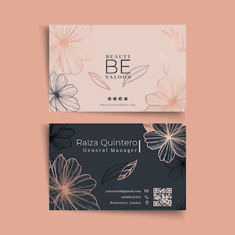 Beauty salon floral double sided business card