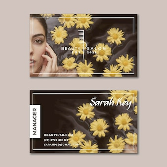 Beauty salon floral horizontal business card
