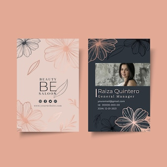 Beauty salon floral id card template
